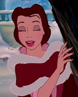 Belle's lovely makeup, and view of the front of the cloak