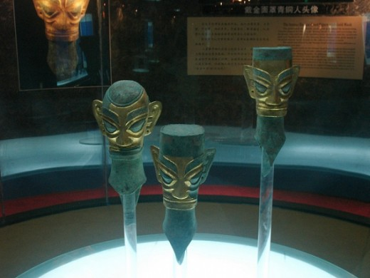 Bronze Head Figures With Gold Masks