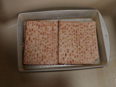 Matzo in wet pan