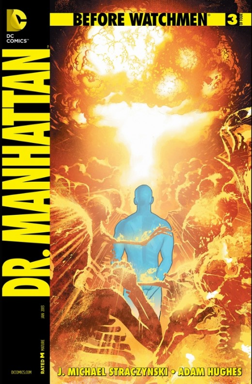 Before Watchmen: Dr. Manhattan #3. Faced with his temporal dilemma, Dr. Manhattan then goes through a scene where he finally realizes that his decisions has destroyed the timeline and created numerous alternate ones. He has, in effect, become a quant