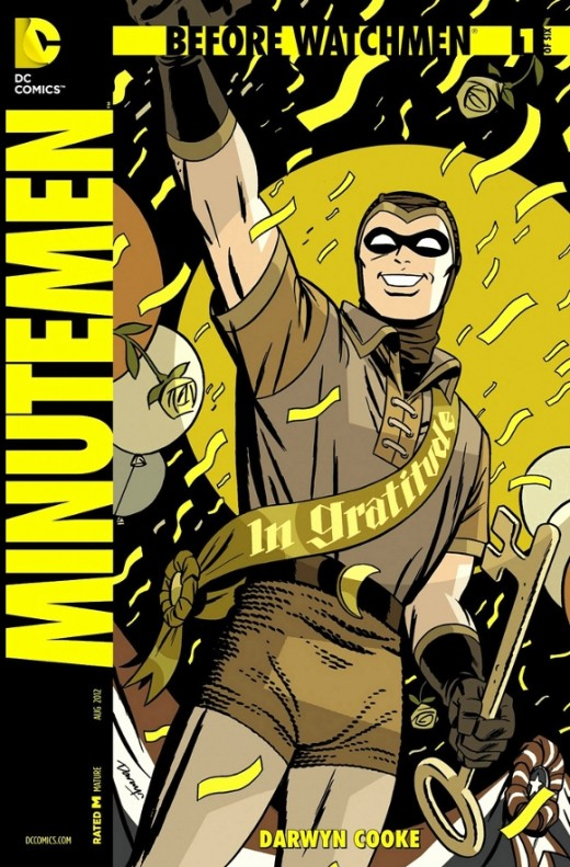 "Minutemen #1. The prologue to the event. Centering from the perspective of Hollis Mason, recently completing his book, ""Under The Hood"", he reflects on how the Minutemen formed, remembering the roster with Hooded Justice, Sally Jupiter, Nite Owl, The"