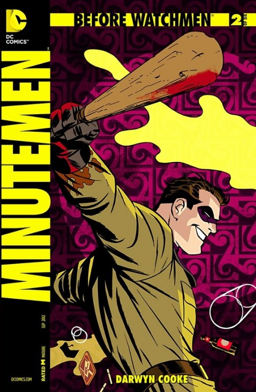Minutemen #2. With a flashback to 1939, Hollis remembers how the Minutemen were formed, starting with Captain Metropolis and Silk Spectre, who then publish an ad in the newspaper for tryouts. Soon, The Comedian, Nite Owl, Dollar Bill, and Mothman, an