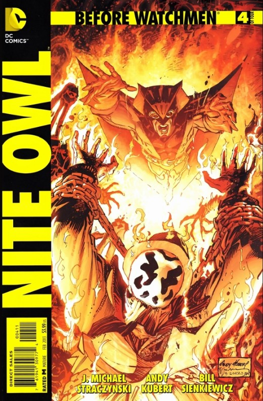 """Before Watchmen: Nite Owl #4. The Plot between Nite Owl and Rorschach meet when Dan and his """"lady"""" realize the preacher who has captured Rorschach is also linked to the prostitute murders. They head there to find the place going up in flames, but fre"""