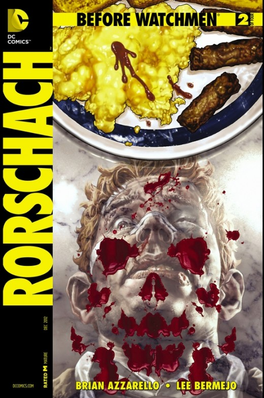 Rorschach #2. Rorschach is now seriously beat up. Practically near death. While recouping, he sees his enemies on the streets, guides an unmanned truck into one of them, and then blows him up. The gang now knows their faceless hero is still alive, so