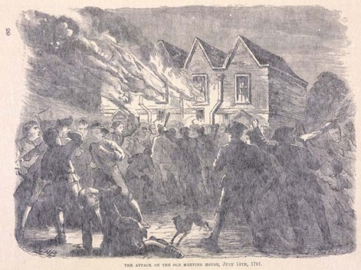 The Old Meeting House, one of two Unitarian buildings in Birmingham, burns to the ground.
