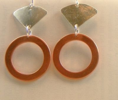 Washer Earrings with Added Silver Element