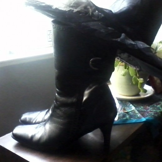 These are my favorite witchy boots.  They are a bit beat up now and that is an indication of how well-loved they are.