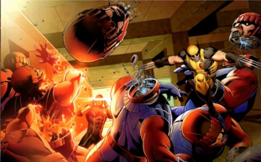 Cyclops and Wolverine face Sentinels in X-Men: Schism #1