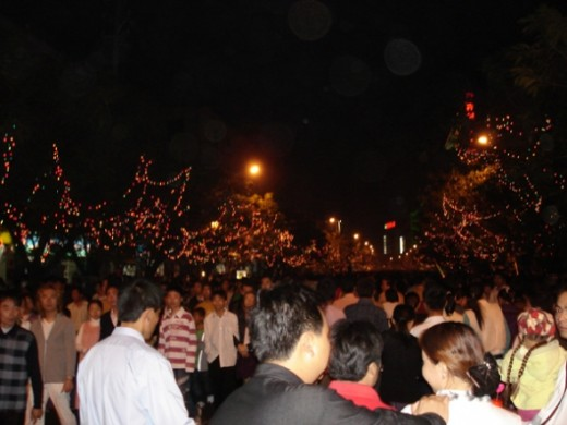 Chinese Lantern Festival Crowd in Fucheng