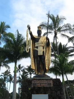Famous statute of Hawaiian King Kamehameha the Great in park across street from Hilo Bay in Hilo, Hawaii.