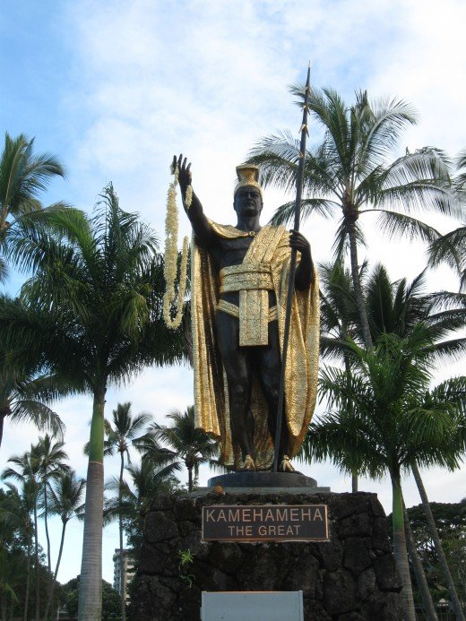 Famous statute of Hawaiian King Kamehameha the Great in park across street from Hilo Bay in Hilo, Hawaii.