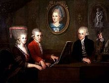 Mozart and his family( his mother is represented by a portrait on the wall)
