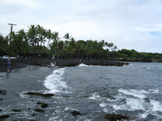 Waves on Black Sand Beach at Panalu'u, Hawaii