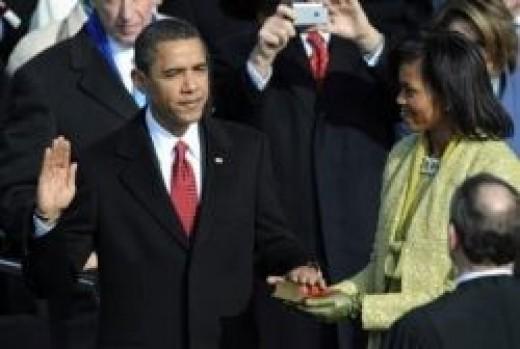 Senator Barack Obama takes the Oath of Office