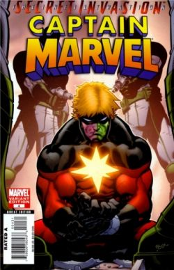 Cover of Captain Marvel #4 (2008), part of the Secret Invasion Infiltration event.