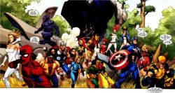A snapshot of many of the potential Skrull Imposters amidst Earth's Heroes (Secret Invasion #1, 2008))
