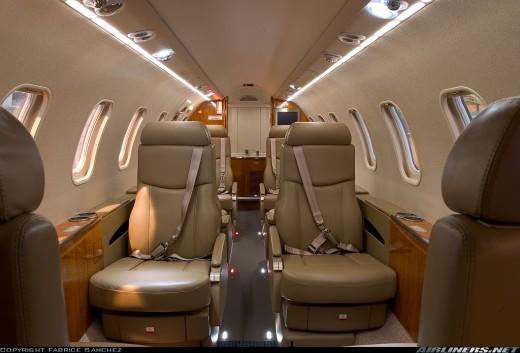 Learjet 45 passenger cabin