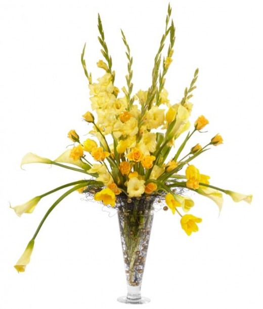 Tall Yellow Wedding Centerpiece, picture courtesy Smithers Oasis