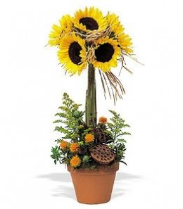 A simple sunflower topiary. Effective and perhaps best of all, easy to DIY.