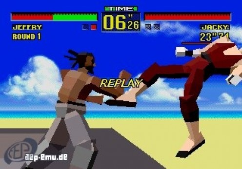 Virtua Fighter features polygonal graphics and awesome one on one fighting. Win two out of three bouts to win the contest.