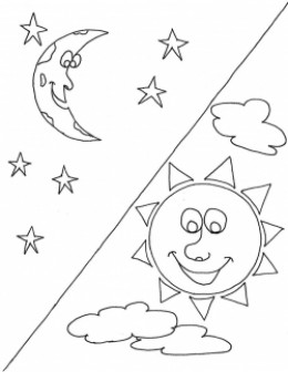 day night coloring pages - sun and moon coloring pages