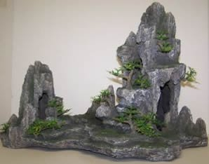 OSI Marine Lab Mountain with Trees Large Aquarium Ornaments