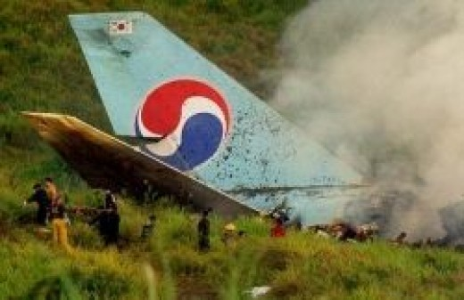 Photo of Flight 801 Korean Air ablaze during rescue effort for survivors, (http://ns.gov.gu/guam/press.html).