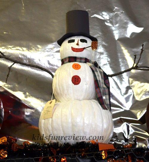 painted snowman pumpkin