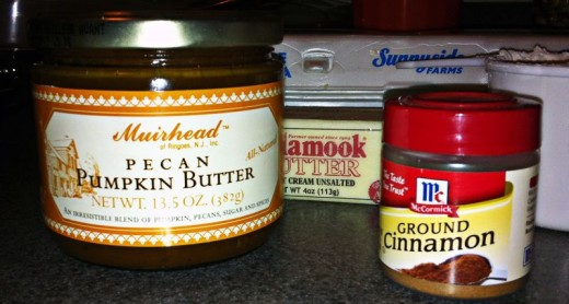 Muirhead Pumpkin Butter, cinnamon, butter, eggs ~ a few ingredients you need.