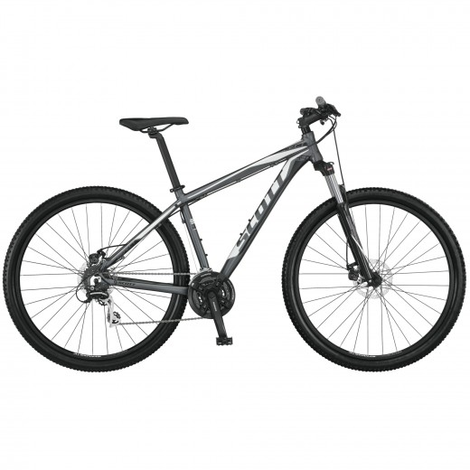 The Scott Aspect 950 mountain bike features disc brakes