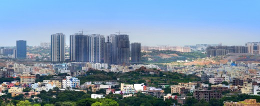 A panoramic view of the city Hyderabad