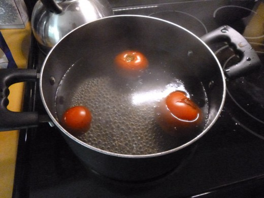 tomatoes in the boiling water