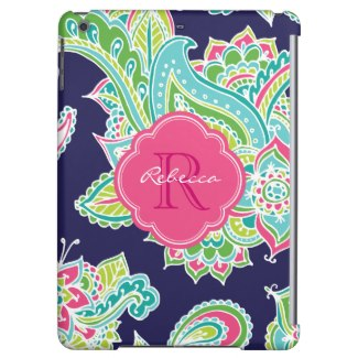 Colorful Bohemian Paisley Monogram iPad Air Cases For Girls