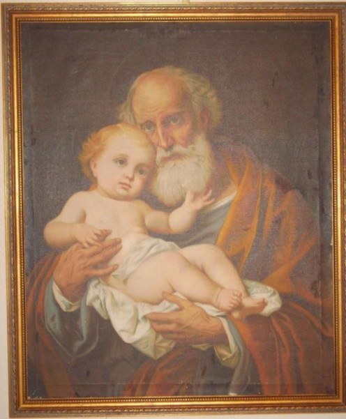 """Reason for the Season"" painting of Simon and baby Jesus"