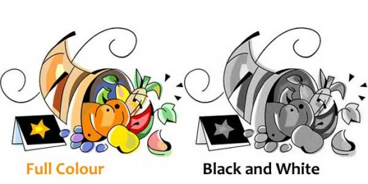 Two versions of Thanksgiving clip art, one in color and one black and white