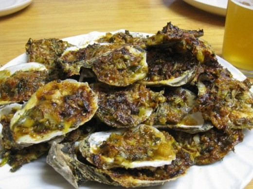 A Stack of Shucked and Grilled Oysters