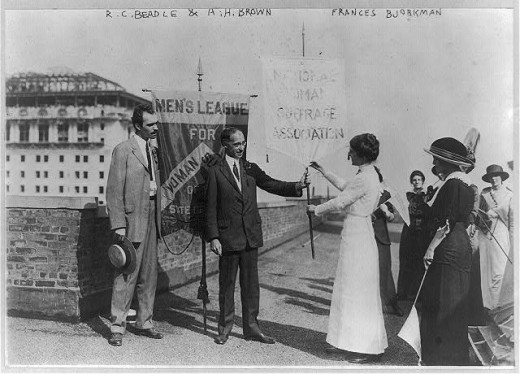 R.C. Beadle and A.H. Brown of the Men's League of Woman Suffrage, ca 1915