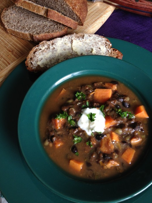 Black Bean and Sweet Potato Soup, made mostly with leftovers in the fridge, served with homemade whole grain bread - Recipe later on this page