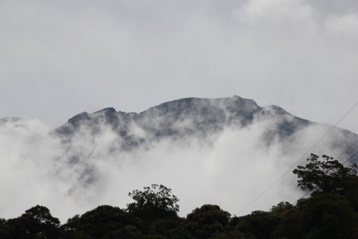A foggy view of Mount Kinabalu.