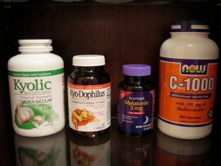 Garlic, probiotics, melatonin, vitamin c