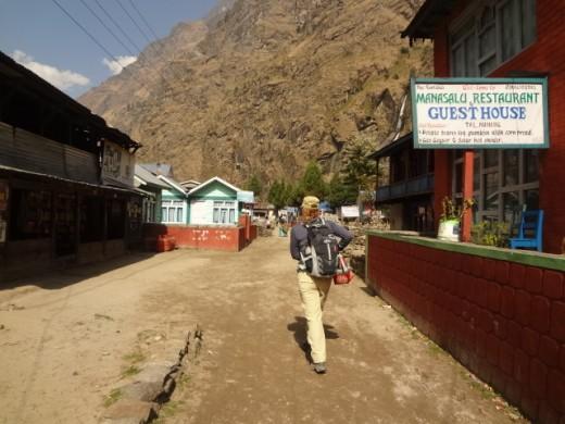 Trekker in Manang valley of Nepal