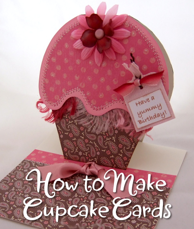 Pink and Brown Handmade Cupcake Card see how to make these