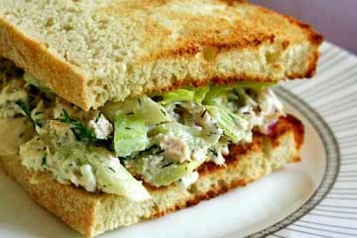 Healthy tuna and lettuce sandwich