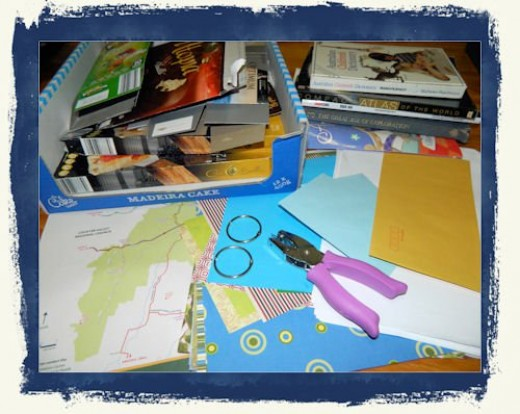 Paper, cardboard, old book pages, magazines etc