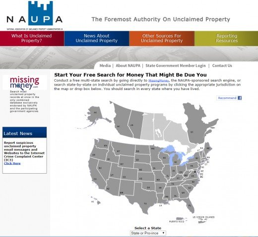 NAUPA allows you to search statewide for unclaimed property.