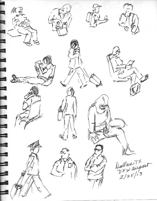 Sketches while waiting for our flight in Dallas TX.