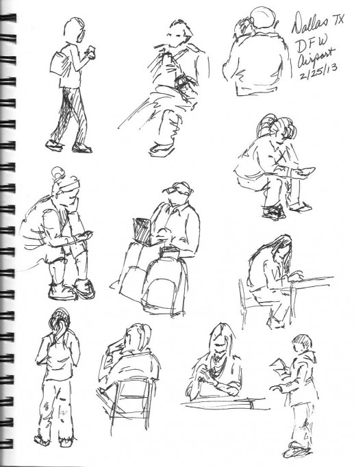More Dallas-Fort Worth airport sketches.