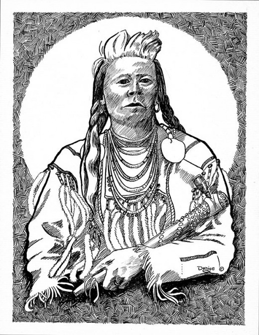 Chief Plenty Coups drawn from a very old photo.