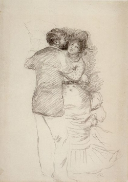 Pencil study for Dance in the Country by Pierre-Auguste Renoir, 1883.