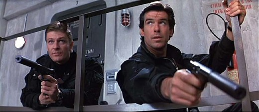 006 Alec Trevelyan (Sean Bean) and 007 James Bond (Pierce Brosnan)